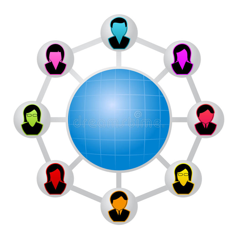Network of people. Around the earth stock illustration