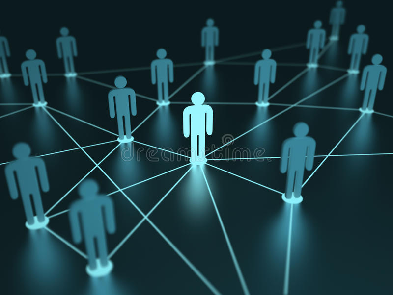 Network People. People interconnected with depth of field on the concept of team