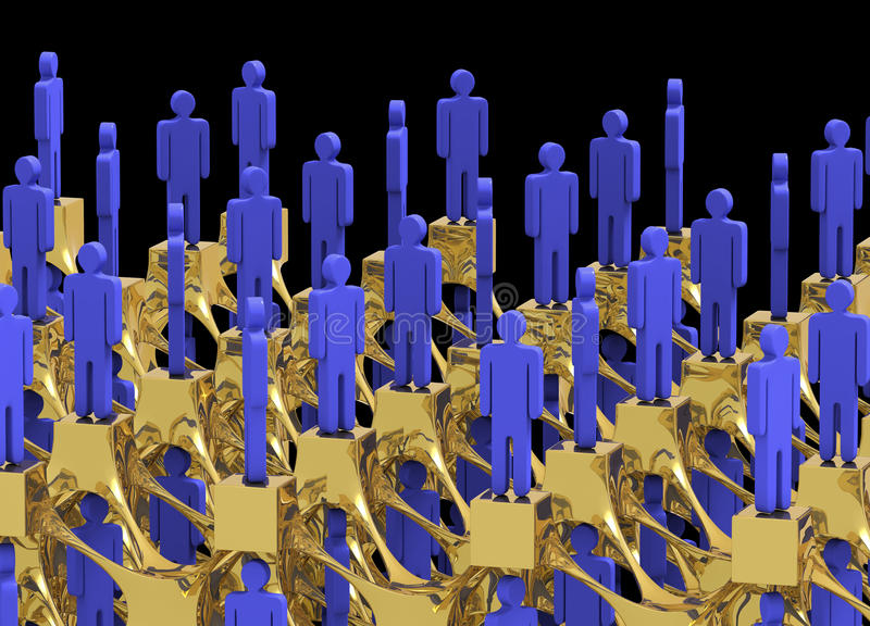 Network of people at the top. Networking of top tier people on gold assemblage with black background vector illustration
