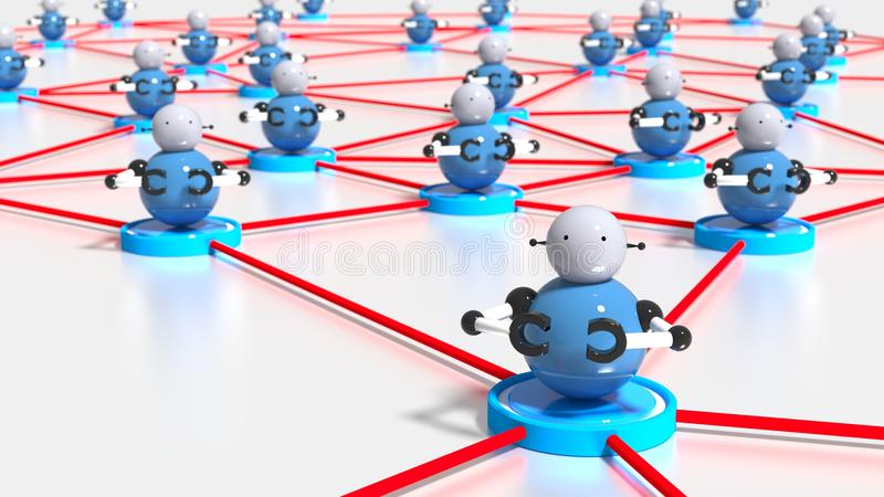 Network of platforms with bots on top botnet cybersecurity concept. 3D illustration vector illustration