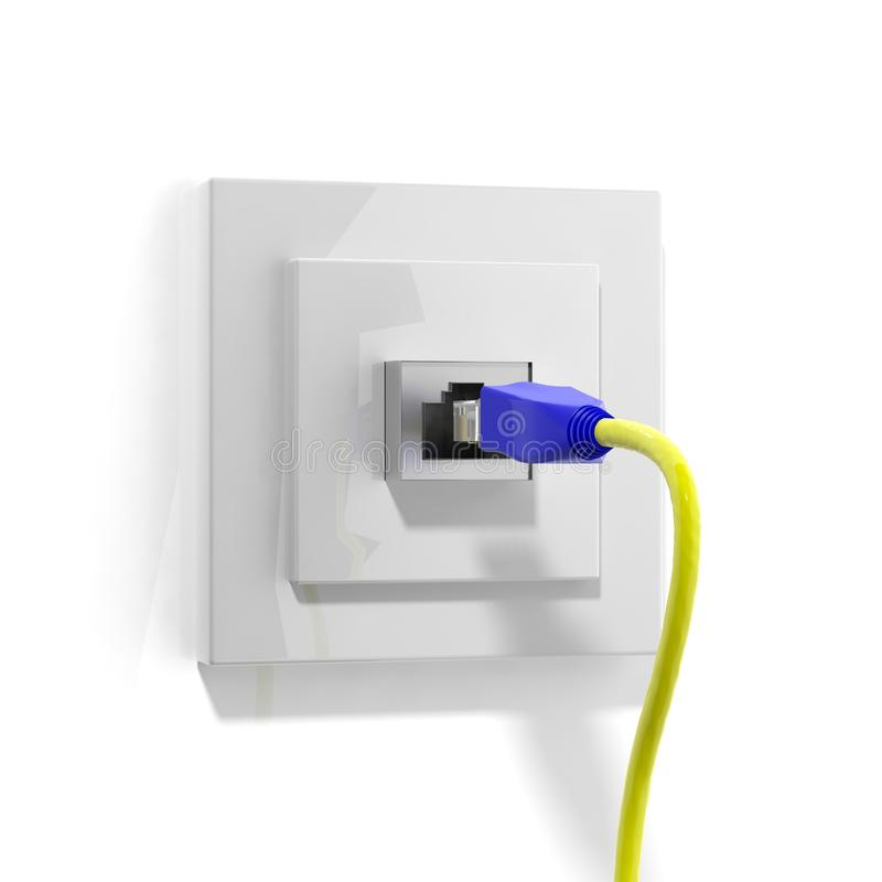Download Network plug with cable stock illustration. Image of internet - 43295519