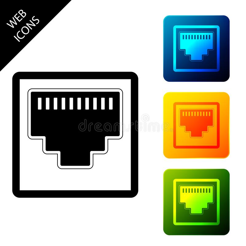 Network port - cable socket icon isolated. LAN port icon. Ethernet simple icon. Local area connector icon. Set icons. Colorful square buttons. Vector royalty free illustration