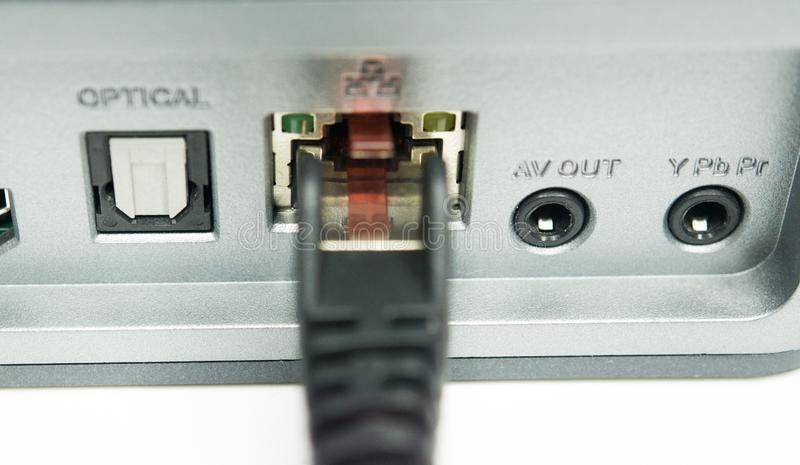 Network port of a media player. Closeup stock photo
