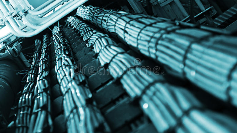 Network and power cables, Abstract flow of information in internet royalty free stock photo