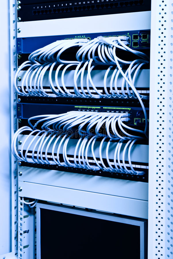 Network rack. Cables switches and patch on network rack