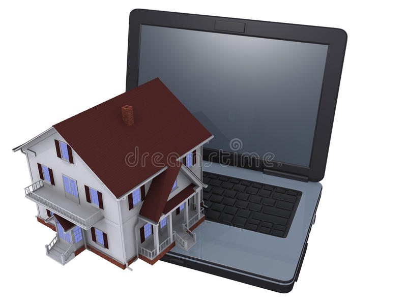 Network Real Estate. Render of house and laptop stock photos