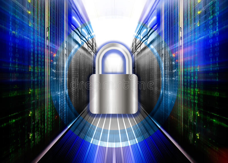 Network safety concept - server closed with padlock, database security. vector illustration