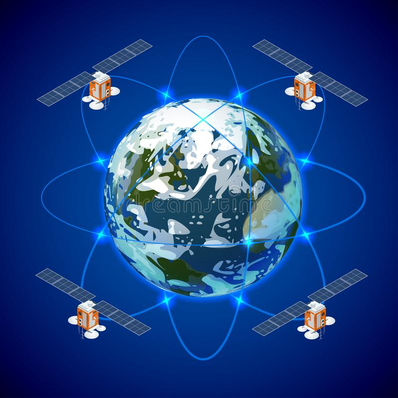 Network and satellite data exchange over planet earth in space. GPS satellite. royalty free illustration