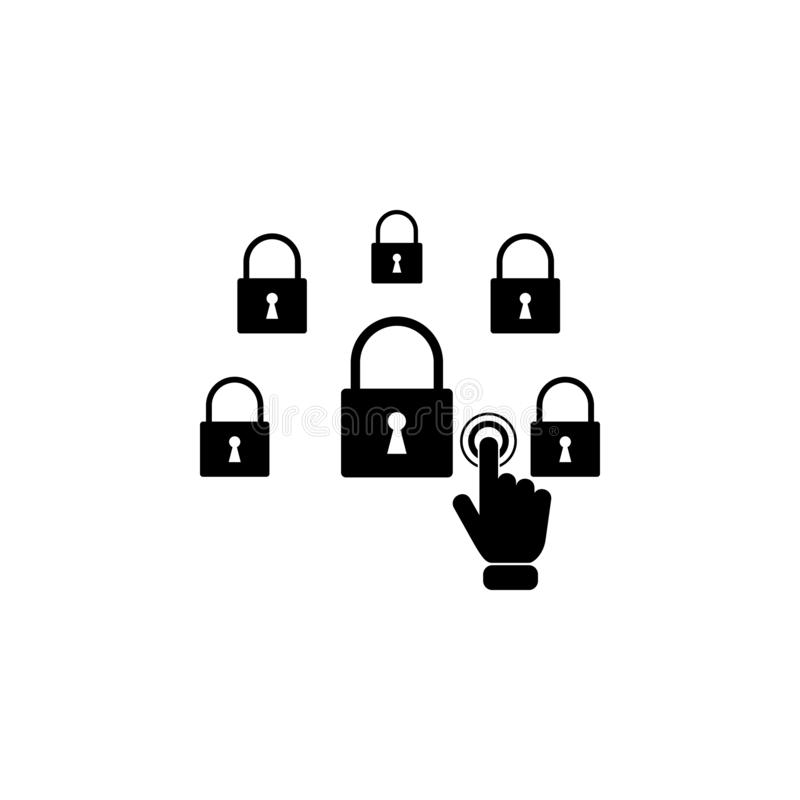 Network security concept on touch screen icon. Element of touch screen technology icon. Premium quality graphic design icon. Signs. And symbols collection icon vector illustration