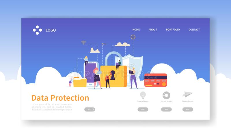 Network Security Landing Page. Data Protection Banner with Flat People Characters and Digital Data Secure Website stock illustration