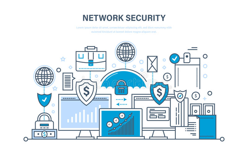 Network security, personal data protection, payment security, database secure. Network security, personal data protection, payment security, database secure stock illustration