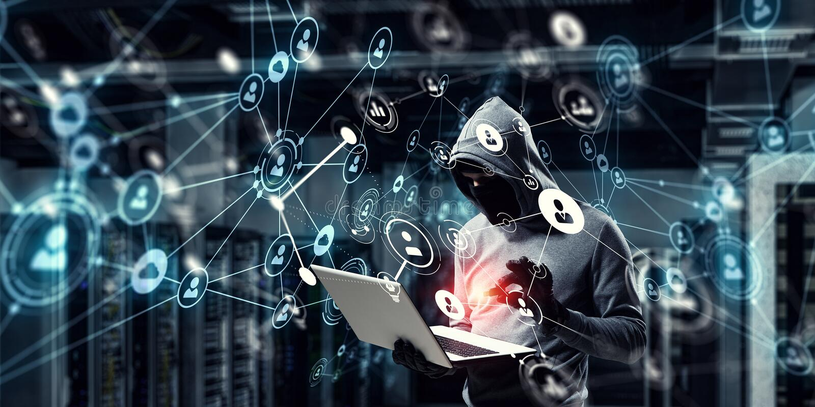 Network security and privacy crime. Mixed media. Computer hacker in hoodie and mask stealing data from laptop. Mixed media royalty free stock photos