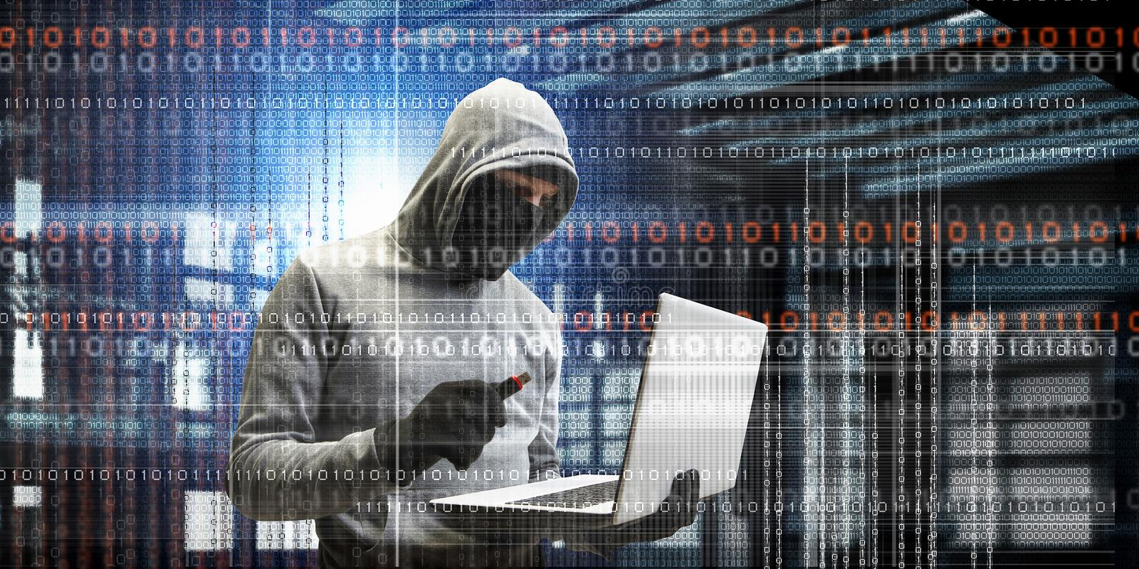 Network security and privacy crime. Mixed media. Hacker man with laptop in hands stole some information on flash. Mixed media stock photography