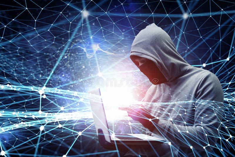 Network security and privacy crime. Mixed media. Hacker man with laptop in hands stole some information on flash. Mixed media royalty free stock photography