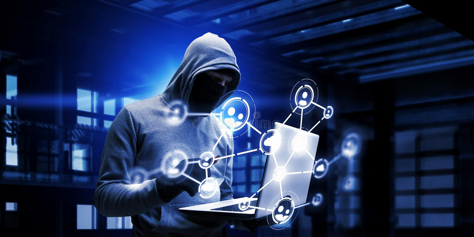 Network security and privacy crime. Mixed media. Hacker man with laptop in hands stole some information on flash. Mixed media stock photo
