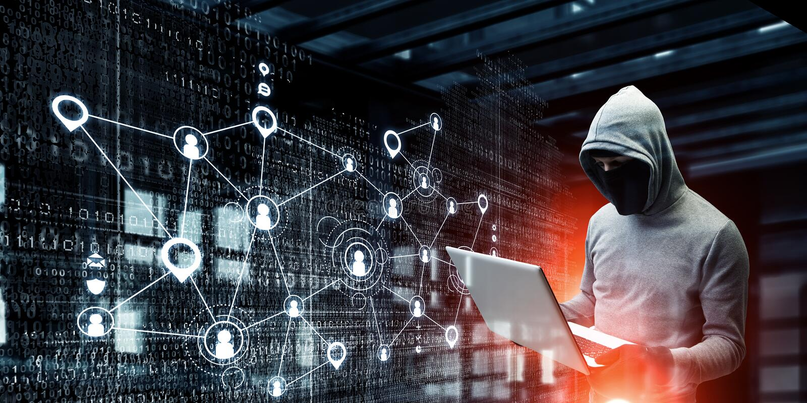 Network security and privacy crime. Mixed media . Mixed media. Computer hacker in hoodie and mask stealing data from laptop. Mixed media royalty free stock photos