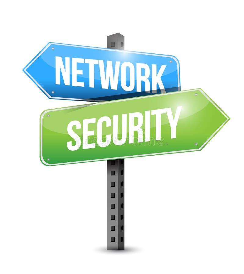Network security road sign illustration design. Over a white background royalty free illustration