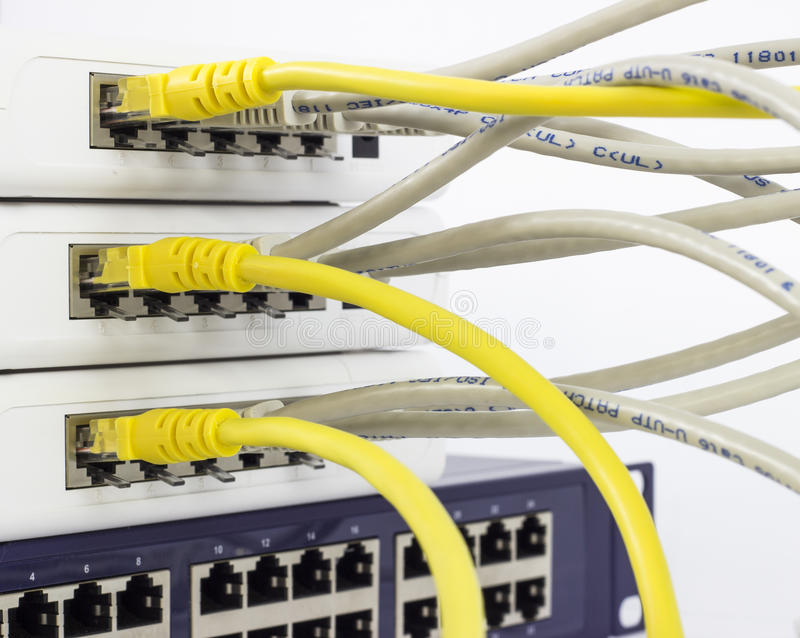 Network server. Close up of network server and cables royalty free stock photography