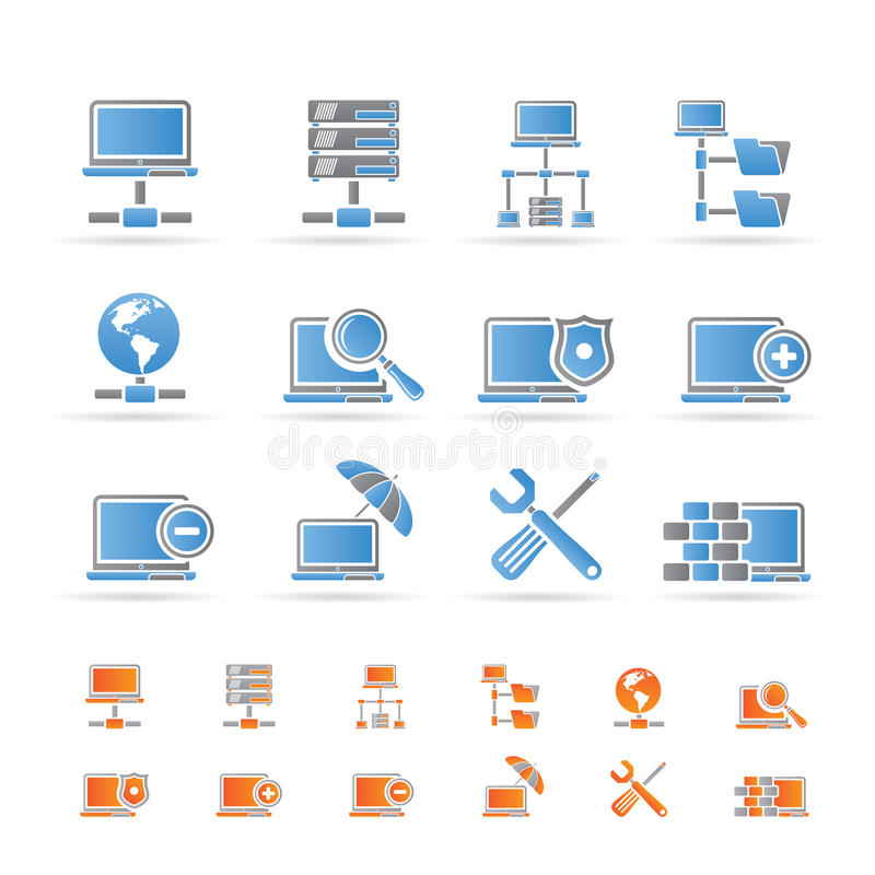 Network, Server and Hosting icons royalty free illustration
