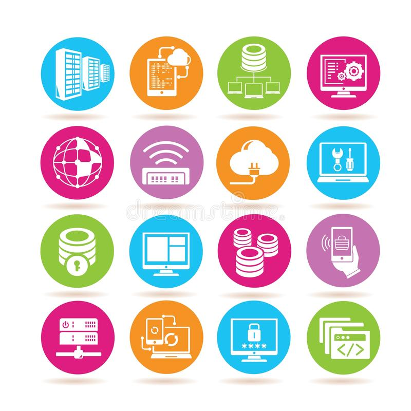 network and server icons stock illustration