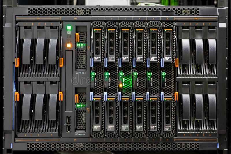 Network Server Rack Panel with hard disks royalty free stock images