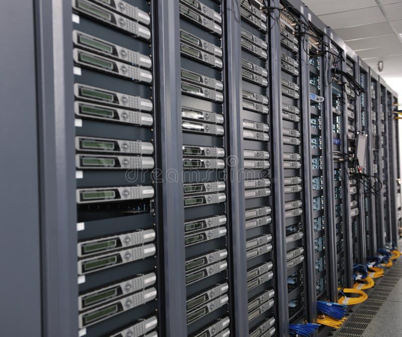 Network server room. Internet network server room with computers racks and digital receiver for digital tv