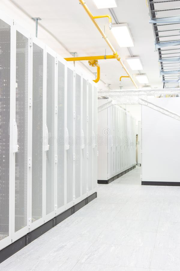 Network server room with computers for digital tv ip communications and internet royalty free stock photo