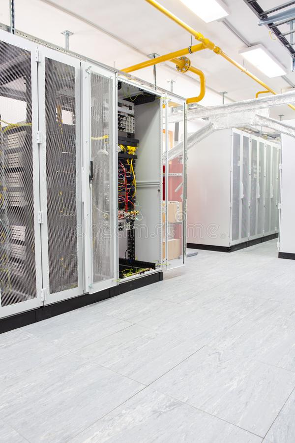 Network server room with computers for digital tv ip communications and internet stock images