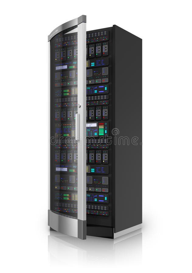Network server. Telecommunication and computer cloud networking technology service concept: network server rack isolated on white background with reflection vector illustration