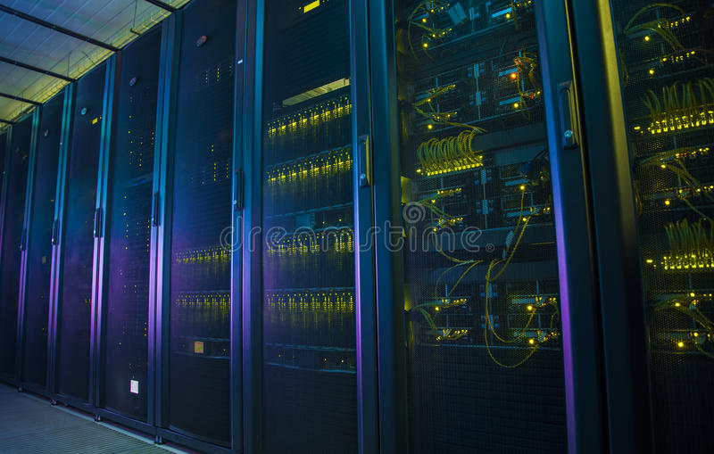 Network servers in a data center. Control modules heat power. Network servers in a data center