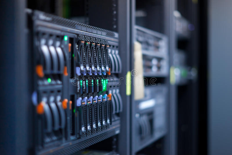Server. Network servers in a data center. Swallow depth of Field