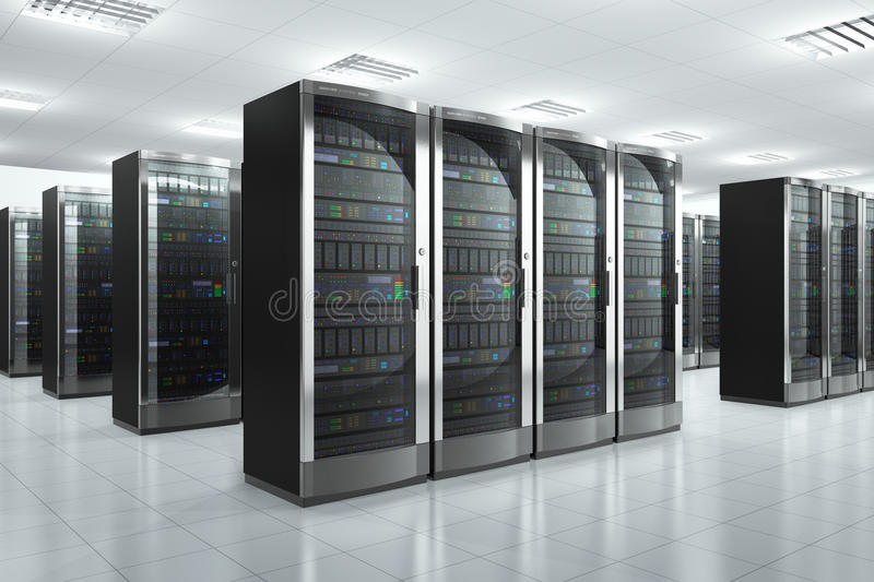 Network servers in datacenter royalty free illustration