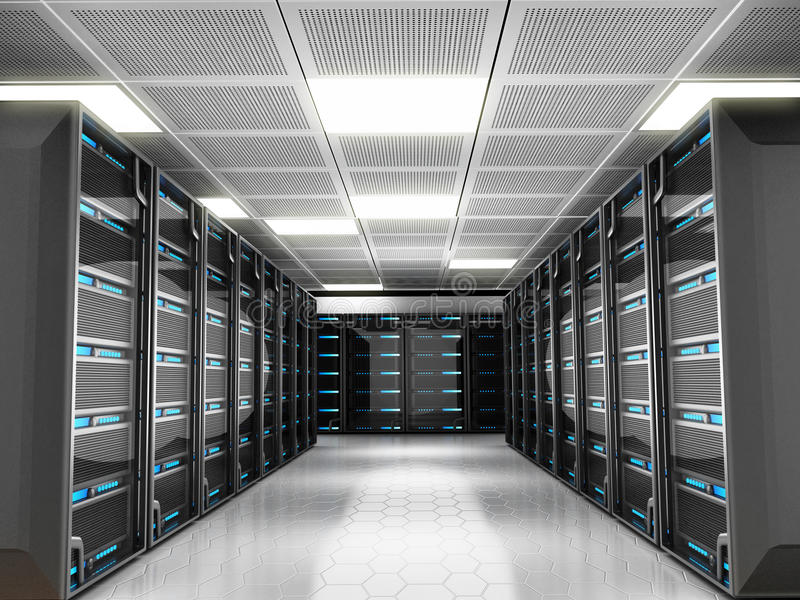 Network servers. Network server room with high technology equipment