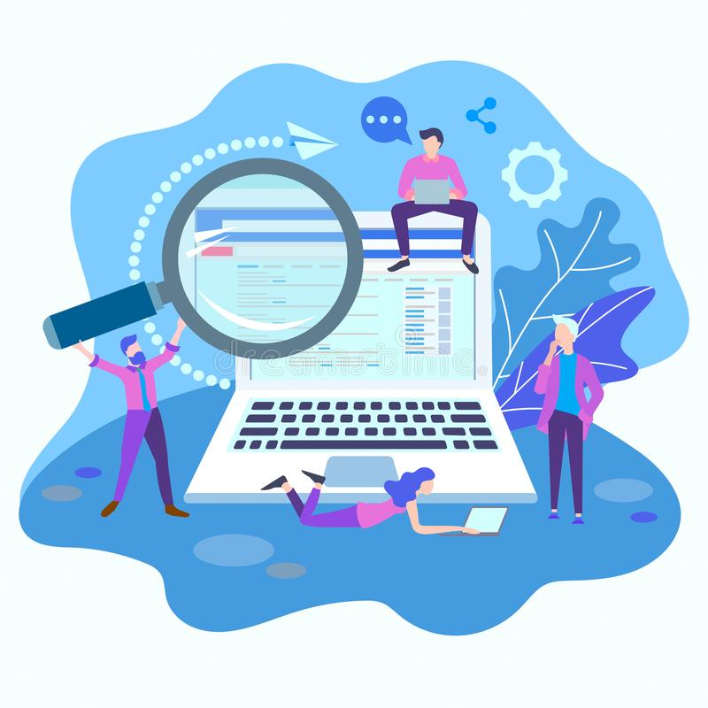 Network setting concept. Team work. SEO optimization. vector illustration