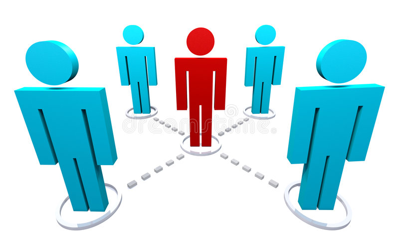 Network of Several People. Group of five people, networked 3D render vector illustration
