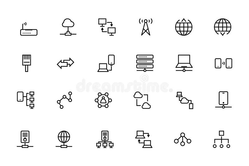 Network and Sharing Vector Outline Icons 2 stock illustration