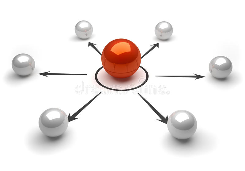 Network of spheres. Conceptual network of spheres 3d render stock illustration