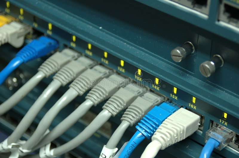 Network switch. Network cables connecting to a switch