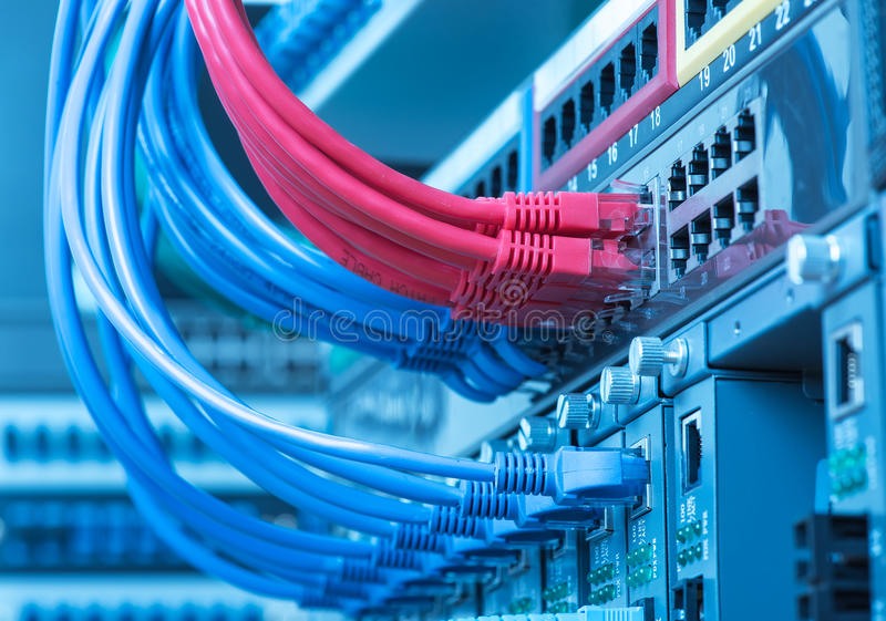 Network Switch And Ethernet Cables Stock Photo - Image of electronic ...