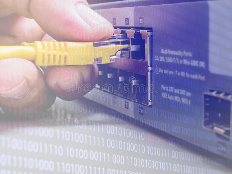 Network switch and ethernet cables,Data Center Concept To communicatation,Information technology,Man connecting network cable to stock photos
