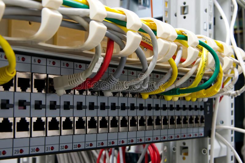 Network switch rack royalty free stock photography