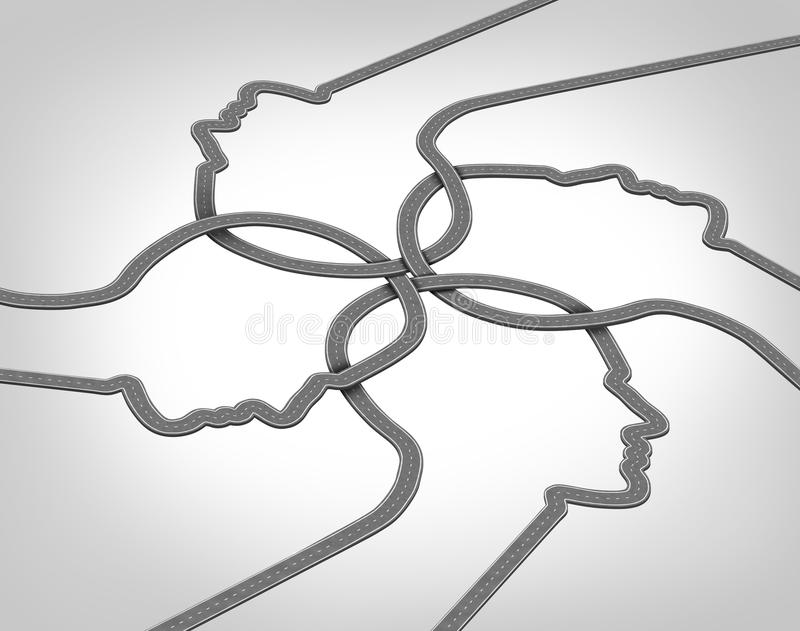 Network Team. Business concept with a group of merging roads and highways shaped as a human head converging and coming together connected as a community stock illustration