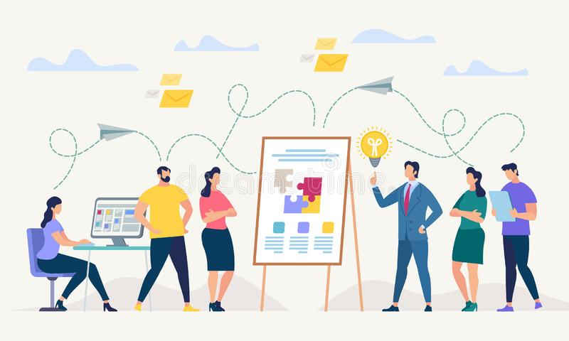 Network and Teamwork. Vector Illustration. Network and Teamwork Concept. Communication systems, Digital Technologies and Crowdsourcing. Networking People Set stock illustration