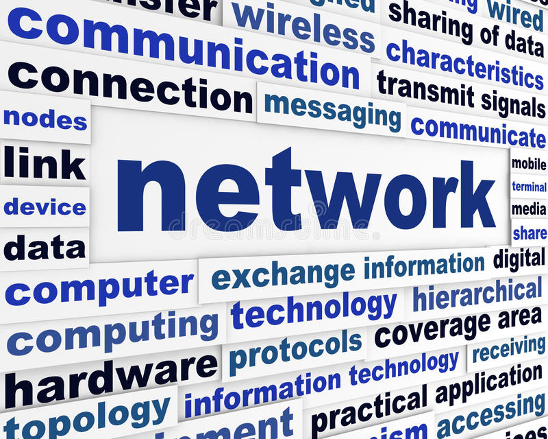 Network technical words concept royalty free stock photos