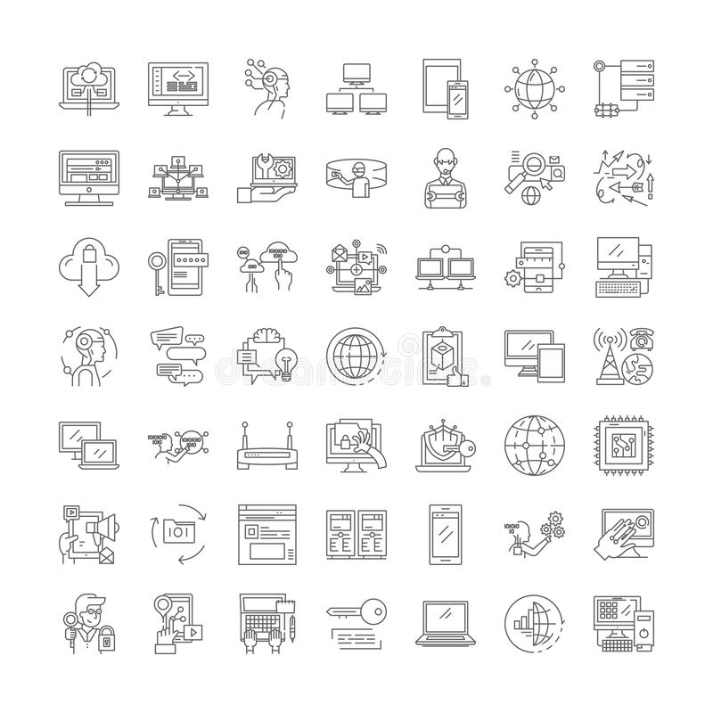 Network technologies linear icons, signs, symbols vector line illustration set 皇族释放例证