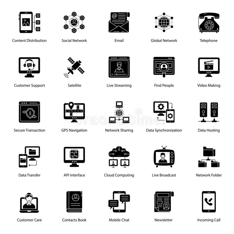 Network Technology Glyph Icons Pack royalty-vrije illustratie