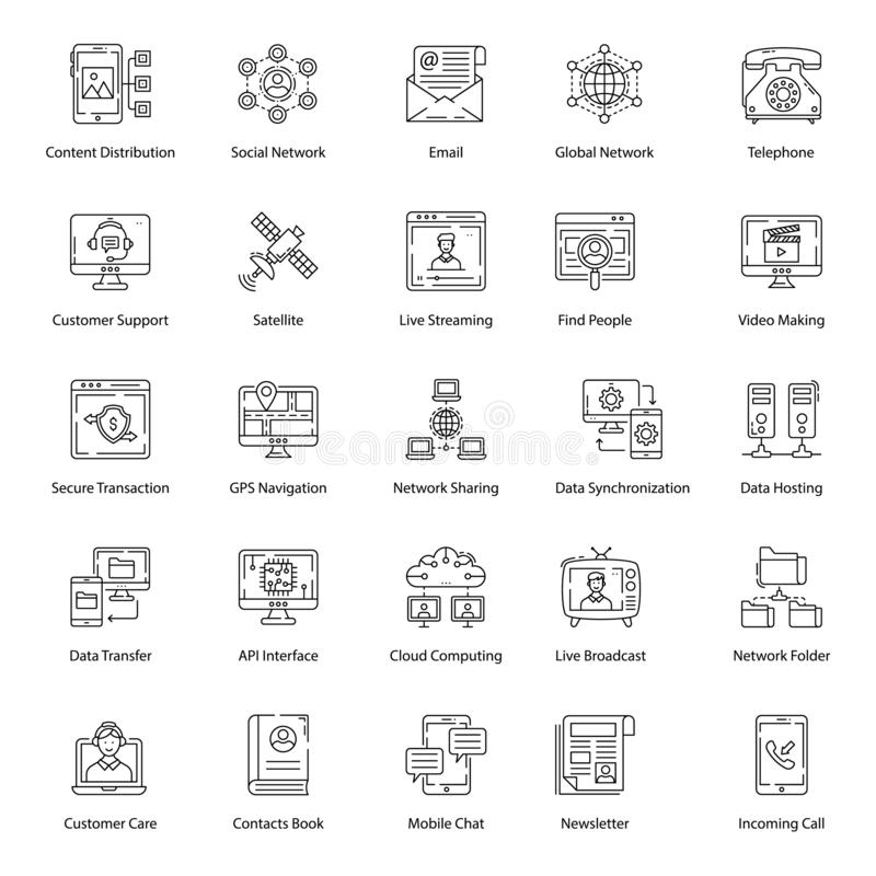 Network Technology Line Icons Pack royalty-vrije illustratie