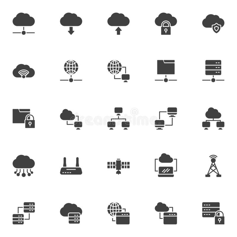Network technology vector icons set 库存例证