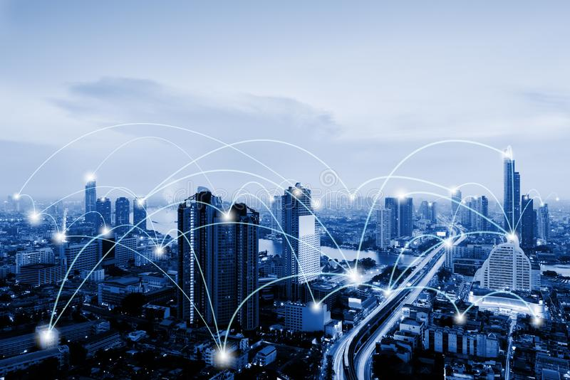 Network Telecommunication and Communication Connect Concept, Connection 5G Networking System of Infrastructure and Cityscape at. Night Scenery. Technology royalty free stock photography