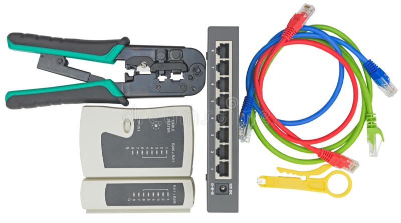Network tester and crimping tool with RJ45 connector royalty free stock photography